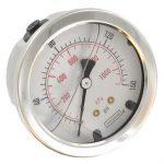 Noshok (25-911-100) 2.5″ Dial Liquid Filled Pressure Gauge Stainless Steel; 1/4″NPT Center Back; 0-100 PSI/KPA